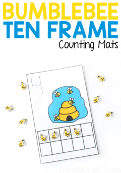 Bumblebee Ten Frame Counting Mats for Kids