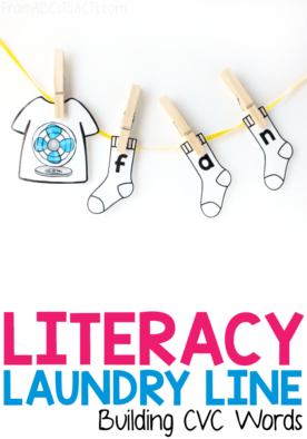 Working on teaching your child CVC words? Make it fun with a CVC word literacy laundry line! #FromABCsToACTs