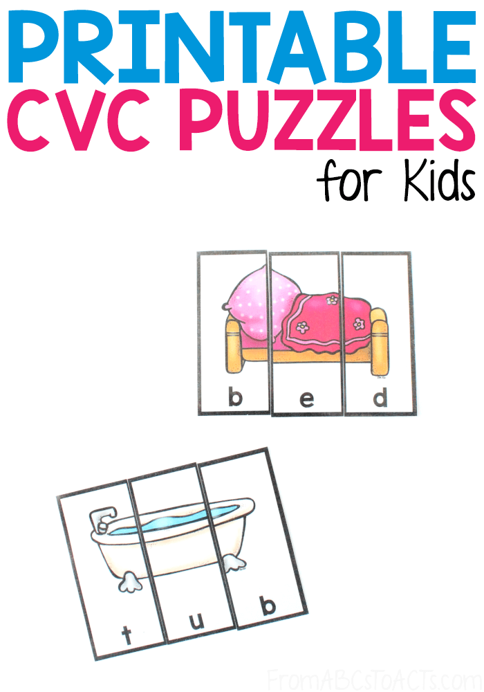 Printable CVC Puzzles - Practice building 40 different CVC words with these printable 3-piece puzzles that are perfect for visual learners!  #FromABCsToACTs
