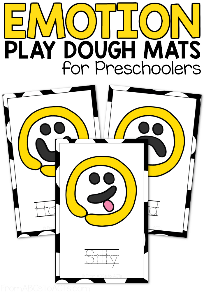 Trying to teach your toddler or preschooler about emotions? Children that age are starting to feel some pretty big feelings that they may not be used to and these emotion play dough mats are the perfect place to start learning about them! #FromABCsToACTs