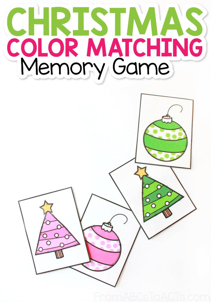 Christmas Color Memory Matching Game for Kids