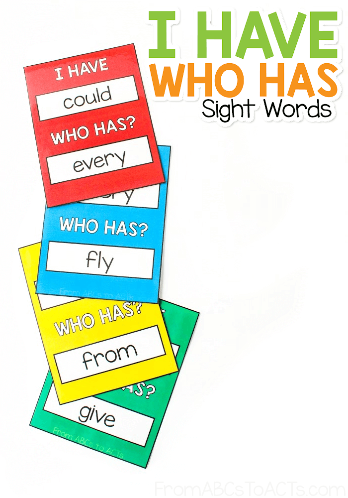 I Have. Who Has Sight Word Card Game