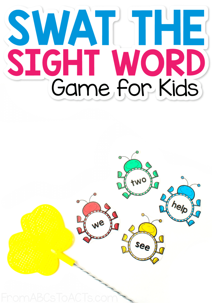 Swat the Sight Word Game for Preschoolers and Kindergartners